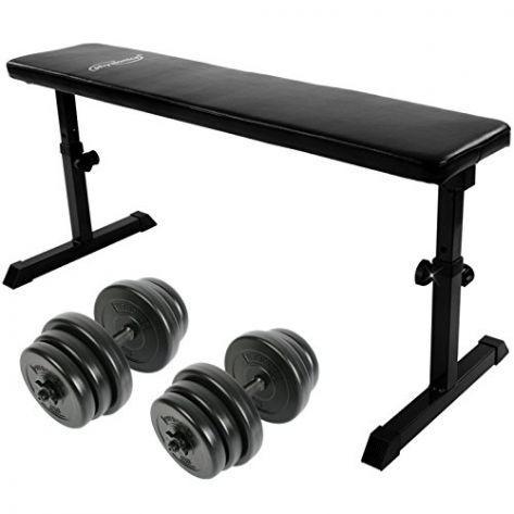 Ravna fitnes klop in uteži za roke – 2 x 20 kg
