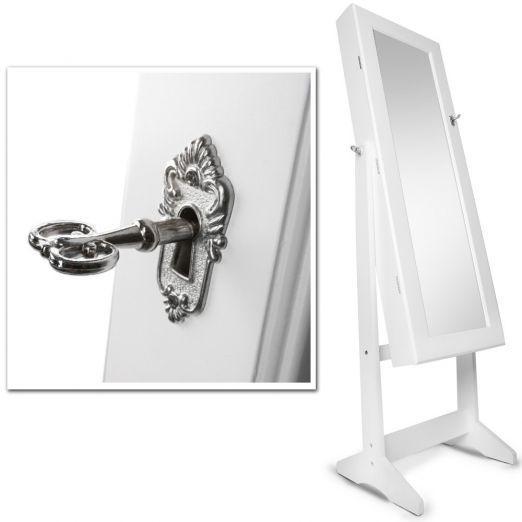 Omara-z-ogledalom-za-nakit-bele-barve-z-dodatkom-kljucev