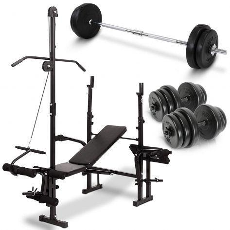 Multifunkcijska fitnes klop z fitnes utežmi 2 x 20kg in fitnes palico 20kg