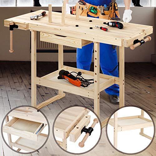 Lesena delovna miza s prostori za orodje cena
