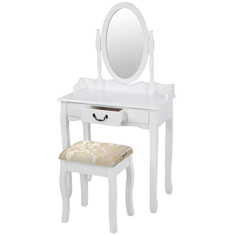 Kozmeticna-miza-s-stolom-bela-poceni