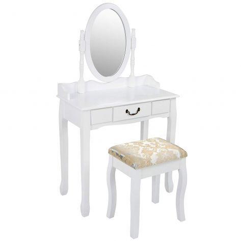 Kozmetična miza s stolom – bela