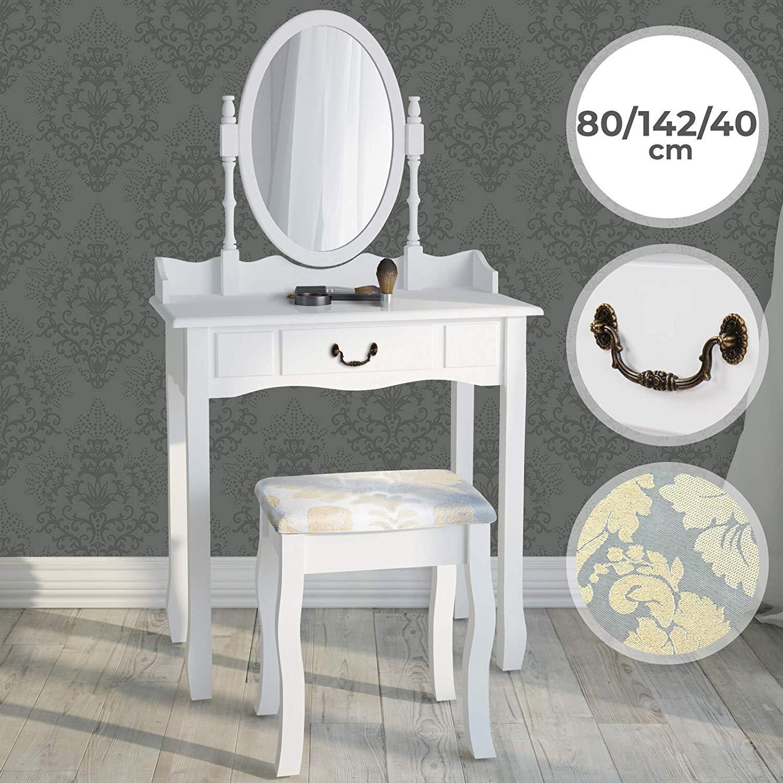 Kozmetična miza s stolom - bela