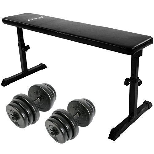 Ravna fitnes klop in uteži za roke - 2 x 20 kg