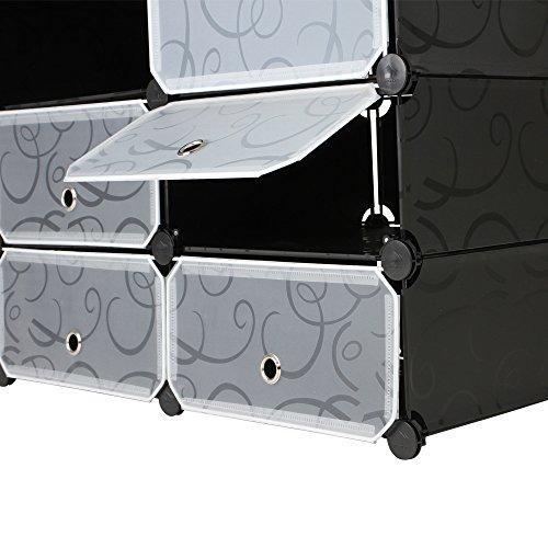 Kabinetna omara z 18 predali (črna/bela) za shranjevanje oblačil nizka cena