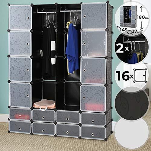 Kabinetna omara z 18 predali (črna/bela) za shranjevanje oblačil