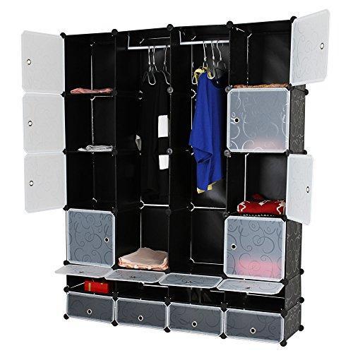 Kabinetna omara z 18 predali (črna/bela) za shranjevanje oblačil cena