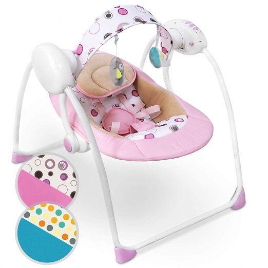 Električni gugalnik za dojenčke z glasbo in z več stopnjami gunganja - roza