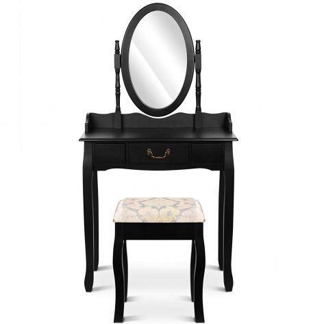 Kozmetična miza s stolom Deluxe – črna