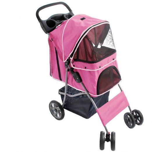 Voziček za psa, kužka - roza barve