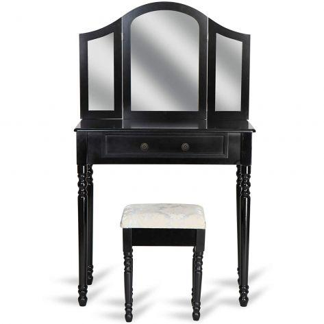 Kozmetična miza s stolom in tremi ogledali Marvel – črna