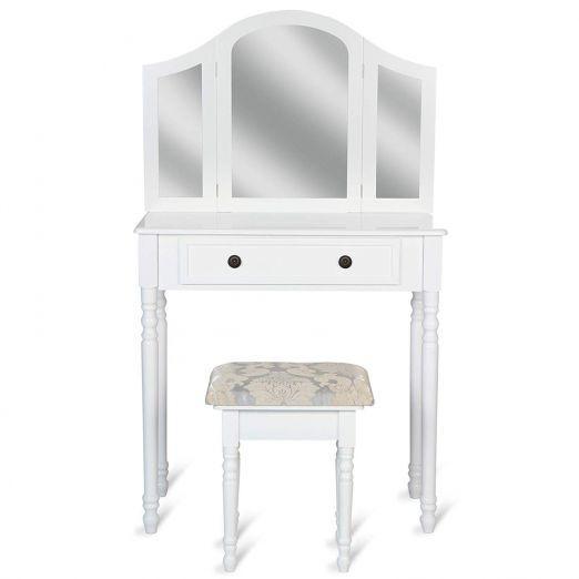 Kozmeticna-miza-s-stolom-in-tremi-velikimi-ogledali-Mabel-bela