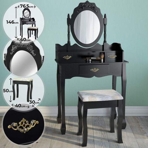 Kozmetična miza s stolom Premium – črna