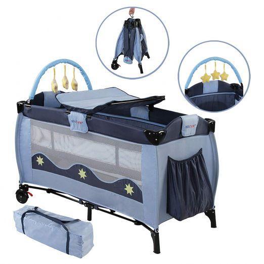 Zložljiva otroška posteljica za potovanja z dodatki Moonlight - modra