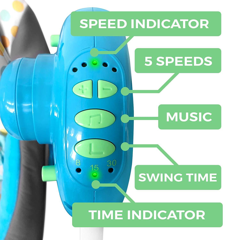 Gugalnik za dojenčka z glasbo - električen - moder ugodno