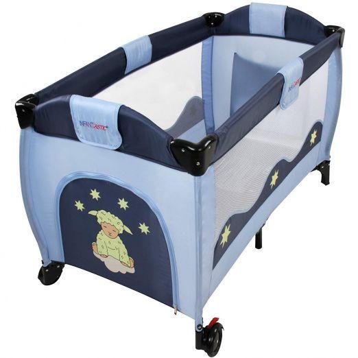 Zložljiva otroška posteljica za potovanja z dodatki Moonlight - modra cena