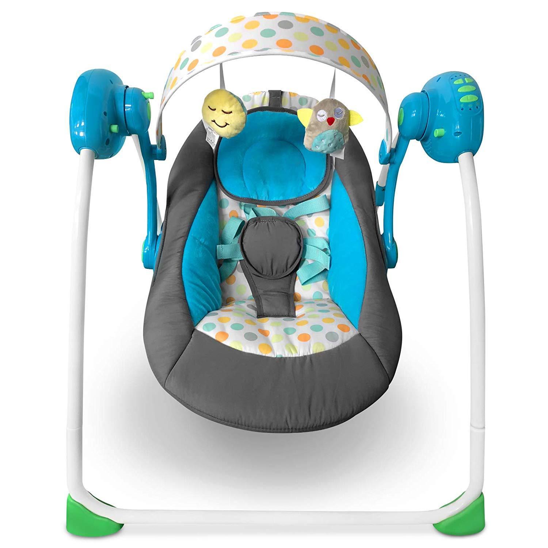 Električni otroški gugalnik - Swing - moder poceni