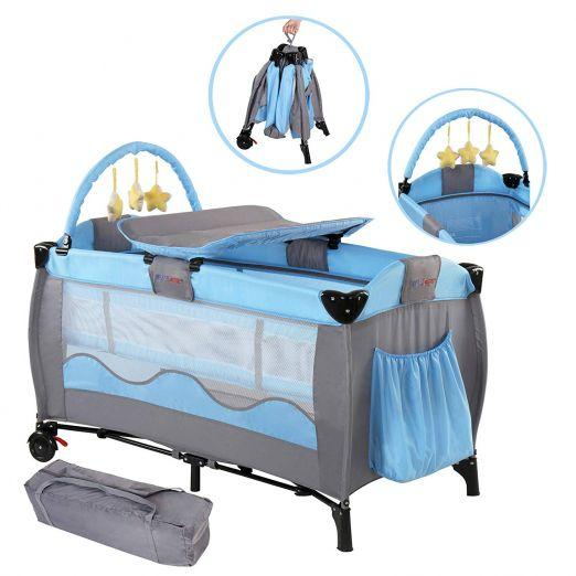 Zložljiva otroška posteljica za potovanja z dodatki Lovelysheep - svetlo modra