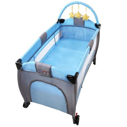 Zložljiva otroška posteljica za potovanja z dodatki Lovelysheep - svetlo modra cena