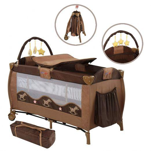 Zložljiva otroška posteljica za potovanja z dodatki Babylove - rjava