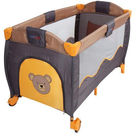 Zložljiva otroška posteljica za potovanja z dodatki Honeybear - sivo-oranžna cena
