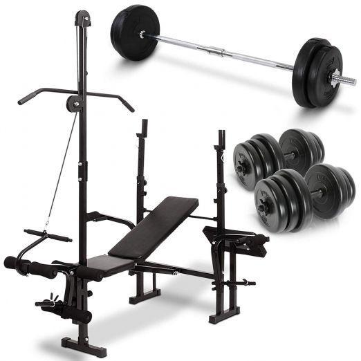 Multifunkcijska fitnes klop s fitnes ročkami 2 x 20kg in fitnes palico 20kg