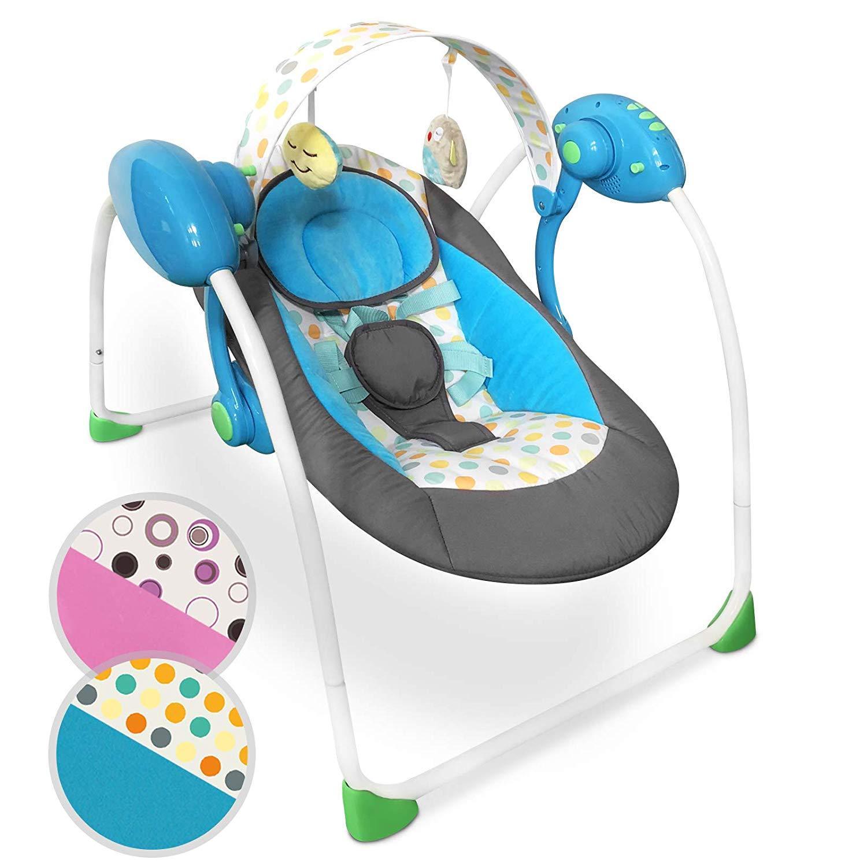 Gugalnik za dojenčka z glasbo - električen - moder