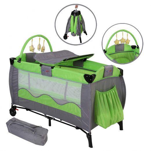 Zložljiva otroška posteljica za potovanja z dodatki Cutie - zelena
