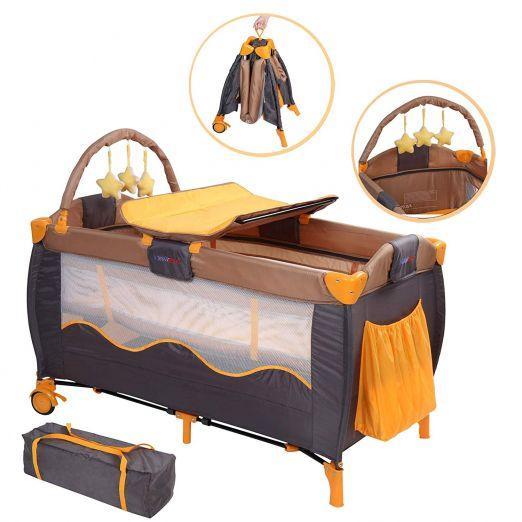 Zložljiva otroška posteljica za potovanja z dodatki Honeybear - sivo-oranžna