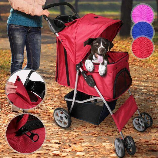 Voziček za psa, kužka - rdeče barve cena