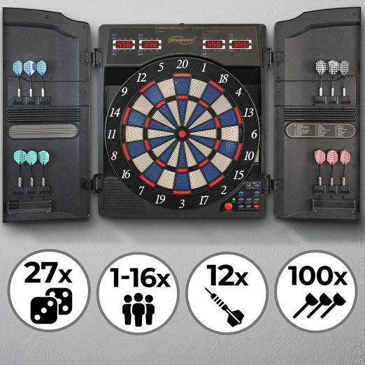 Elektronski pikado z LCD za 16 igralcev ter 159 kombinacij različnih iger