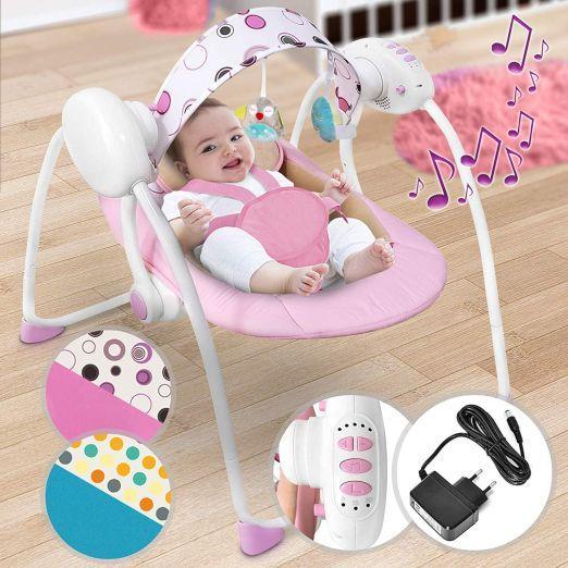 Električni gugalnik za dojenčke z glasbo in z več stopnjami gunganja - roza cena