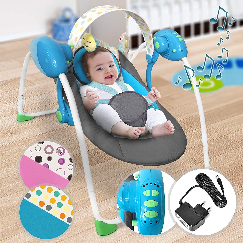 Električni gugalnik za dojenčke z glasbo in z več stopnjami gunganja - moder cena