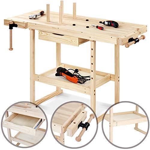 Lesena delovna miza s prostori za orodje