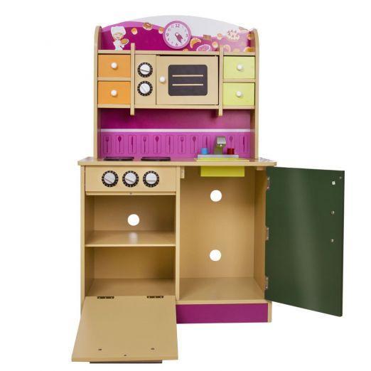 Otroška kuhinja iz lesa z ogromno dodatki
