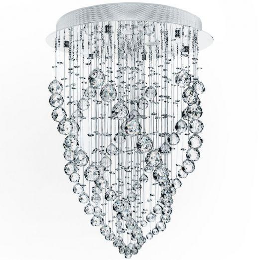 Stropna svetilka s kristali iz nerjavečega jekla