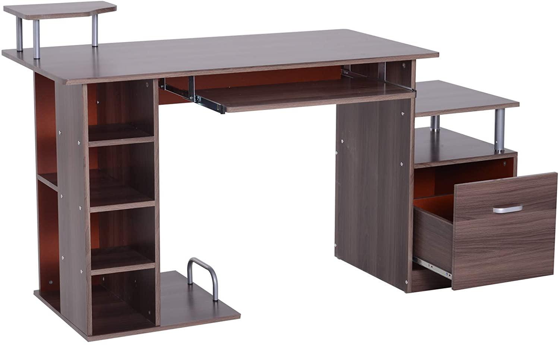 Lesena računalniška miza z veliko predali