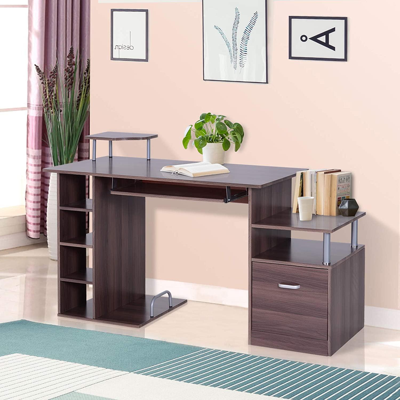 Lesena računalniška miza z veliko predali cena