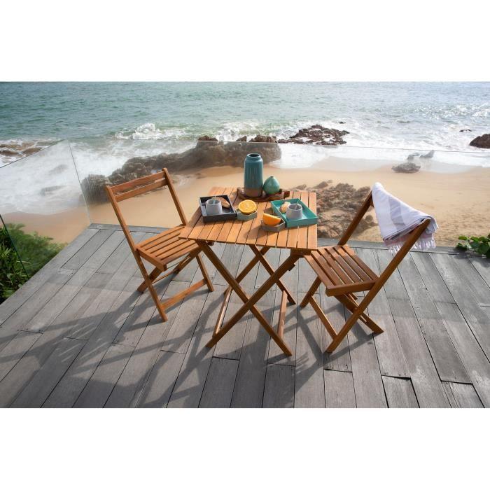 Balkonska miza in stoli za dve osebi - akacijev les - 2 stola