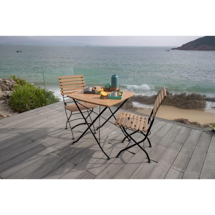 Set mize in stolov za balkon - les - 70 x 70 x 74 cm