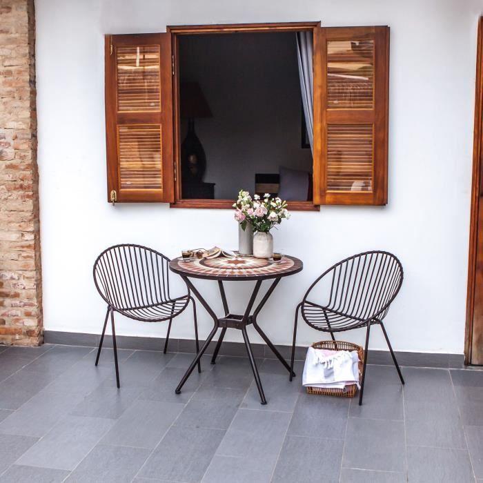 Komplet vrtne mize in stolov - mozaični slog - 80 cm x 74 cm